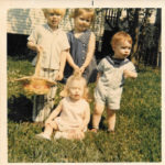 My cousin's and I on our way to an egg hunt. I'm the tall brunette.