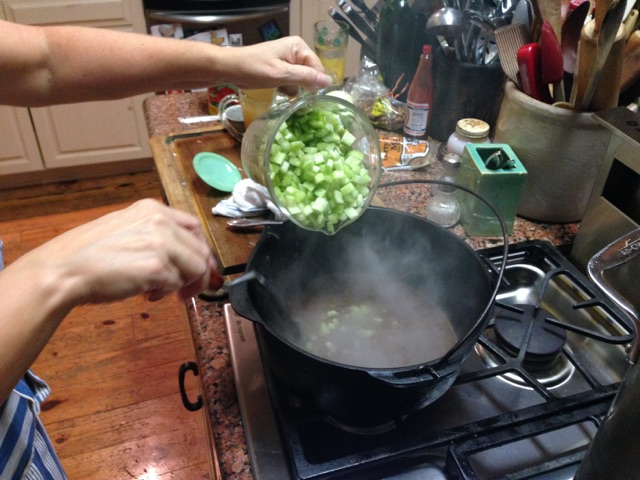 Pay attention to steam created as you add the veggies