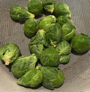 Fresh Brussel Sprouts in colander