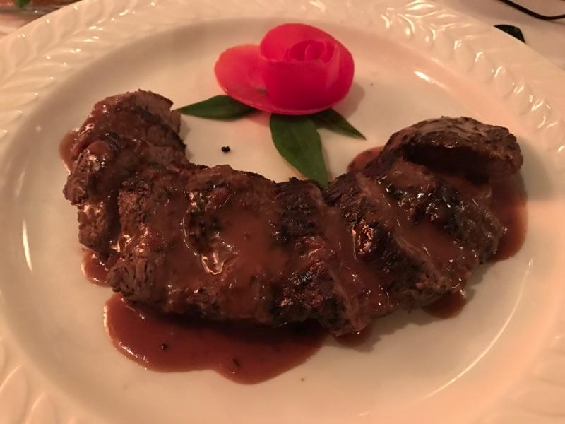Black Pepper dusted Teres Major Steak with Cognac Cream Sauce