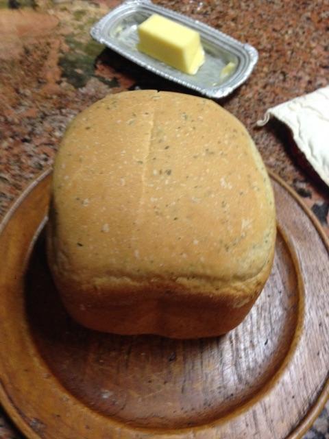 Hot Fresh Bread with Italian Seasoning on Wood