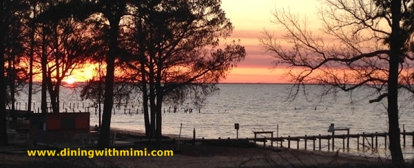 Sunset on Mobile Bay with Tree Shadows