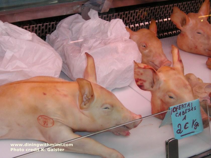Pigs fo sale Barcelona market