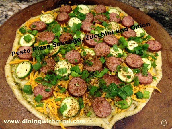 Quick Appetizer Plus Craft Beer- Now! Sausage Zucchini Cheese Onion Pizza www.diningwithmimi.com