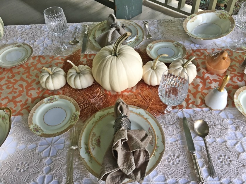 Table dressed with Noritake china, white pumpkins and vintage beige linens Turkey Pairing Southern Side Dish www.diningwithmimi.com