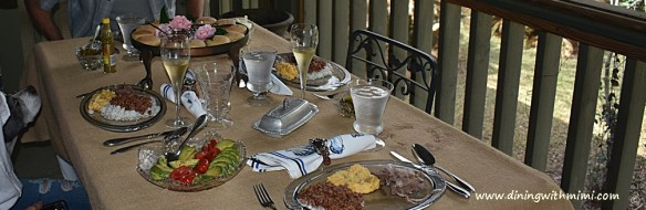 Porch Table setting Never Fail Spirited Fig Pecan Bundt Cake www.diningwithmimi.com