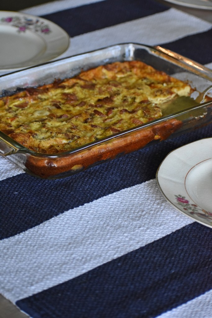 Golden brown dish of Busy Moms Beckon The Bacon Frittata Recipe www.diningwithmimi.com