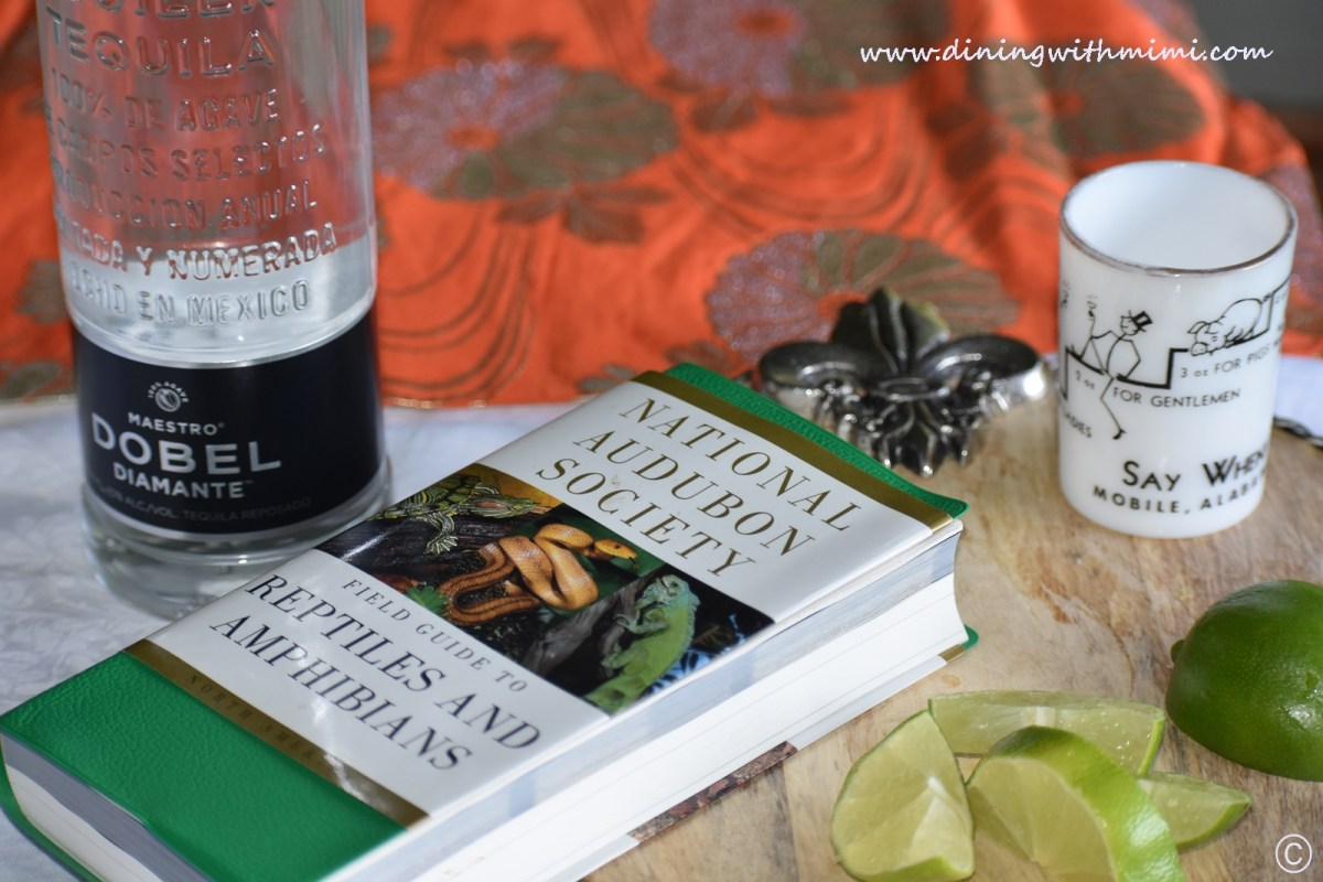 Reptile Book, Tequila and Limes on cutting board Yes, Snake Bitten in Fairhope www.diningwithmimi.com