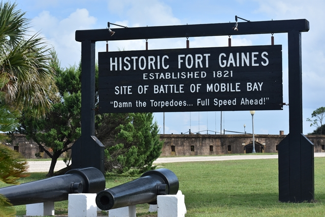 Historic Fort Gaines view of cannon for Unwind on Dauphin Island www.diningwithmimi.com