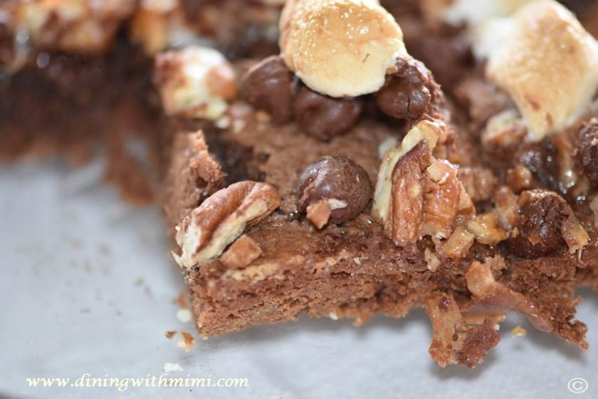 Closeup of Mimi's Nutty Fudgy Indulgent Pecan Bar www.diningwithmimi.com