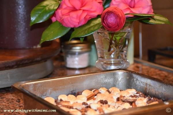 Baked dessert Mimi's Nutty Fudgy Indulgent Pecan Bar www.diningwithmimi.com