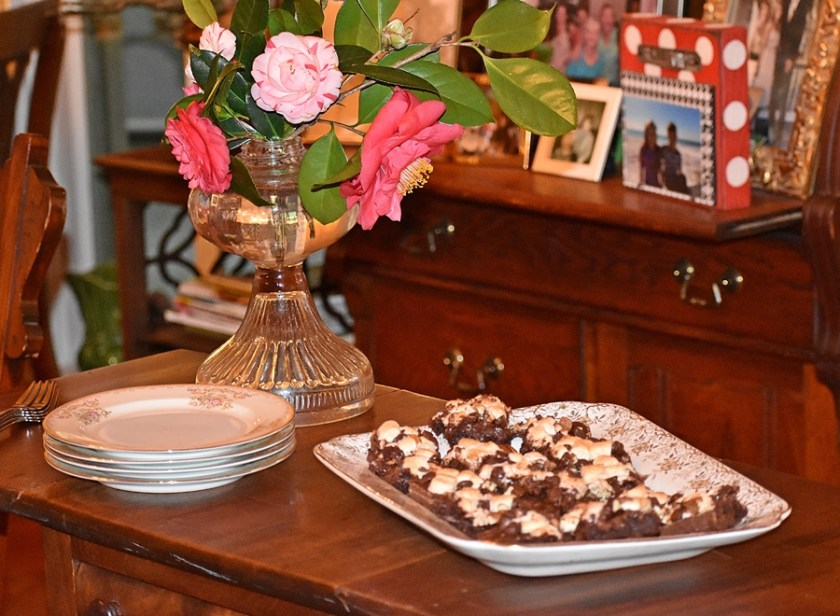 Serve dessert on platter for Nutty Fudgy Indulgent Pecan Bar www.diningwithmimi.com
