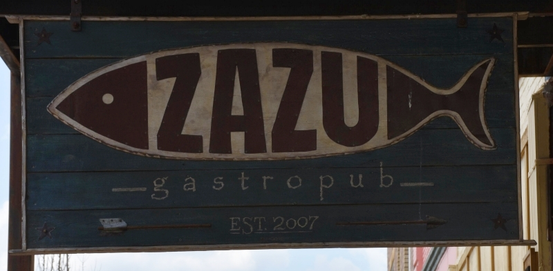 Zazu Gastropub Sign in Adorable Opelika and Songwriters Festival 2020 www.diningwithmimi.com