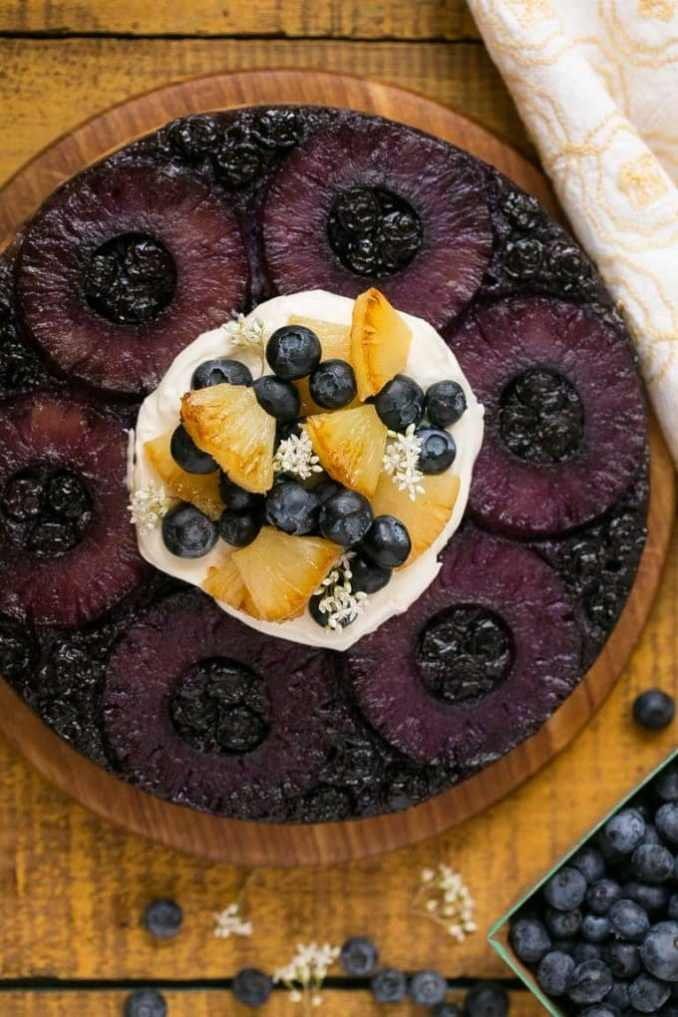 Blueberry Pineapple Upside Down Cake - Dinner at the Zoo