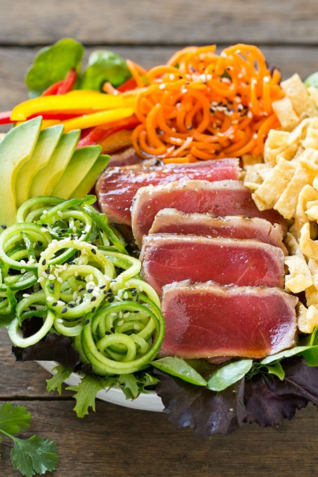 This Recipe For Ahi Tuna Salad Is Seared On A Bed Of Mixed Greens With