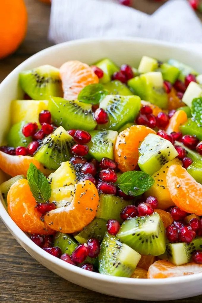Winter fruit salad is a light and colorful side dish.