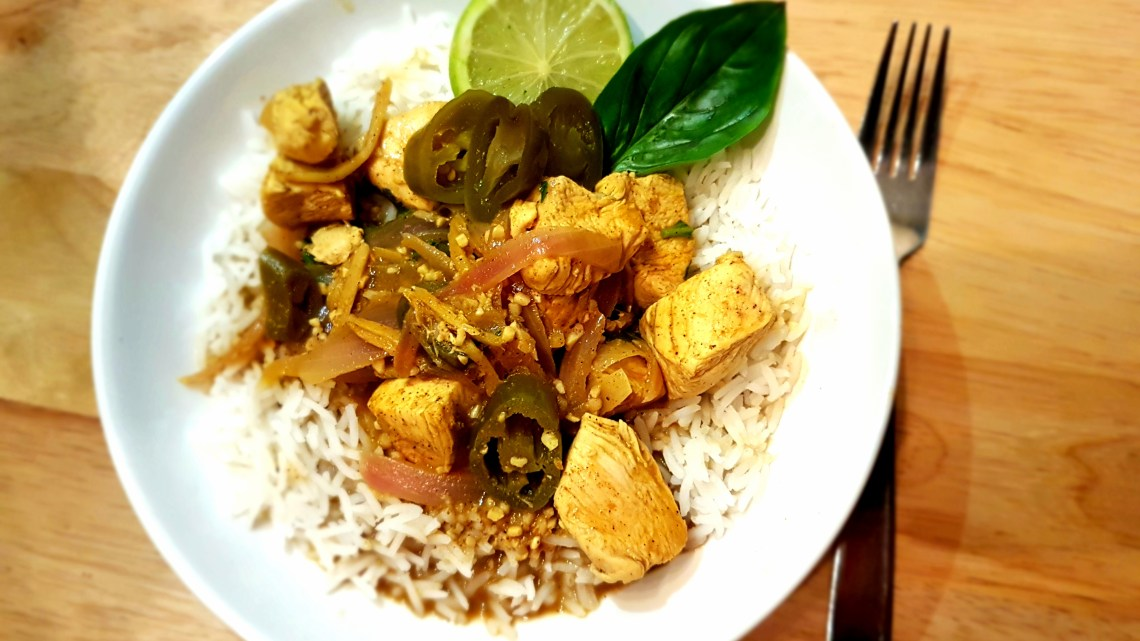 Coconut Chicken Curry with Jalapeños, Basil and Lime
