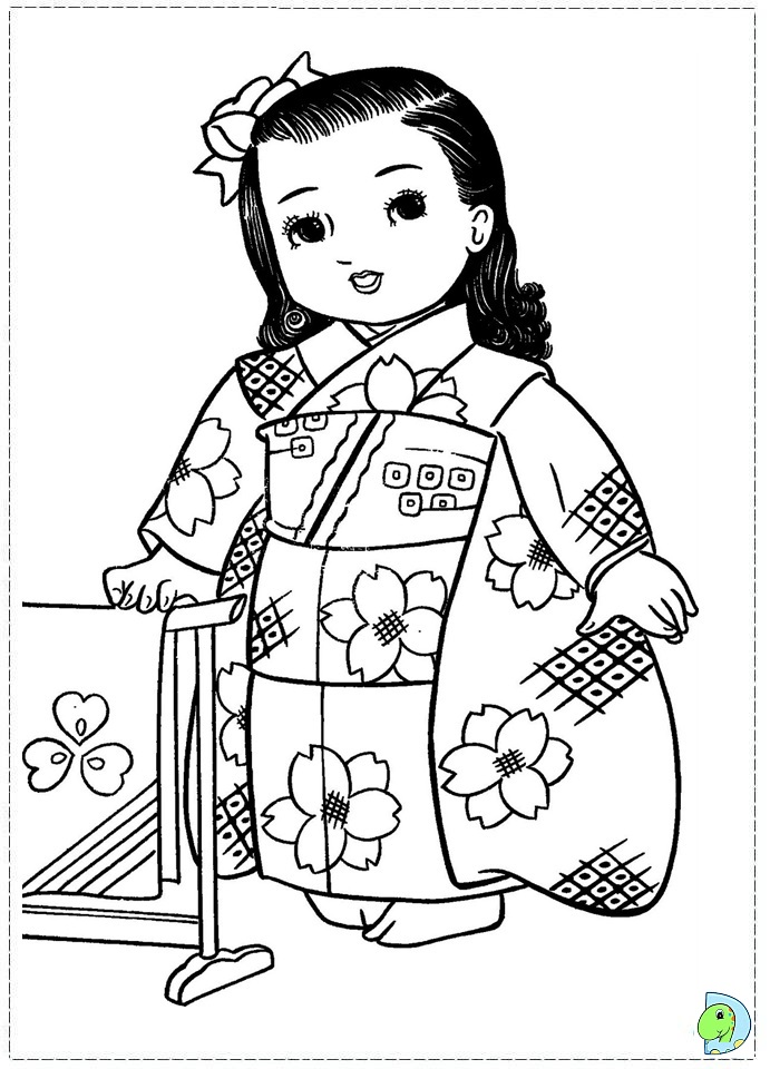 Japanese Girl Coloring Page