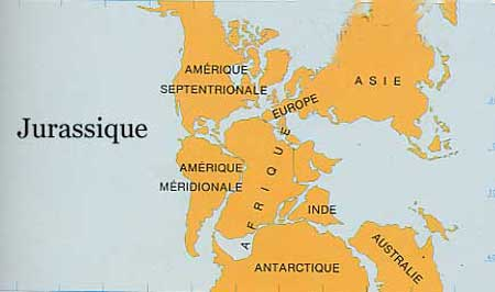 Continents au Jurassique