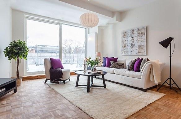 decoración sofá almohadones salón nórdico