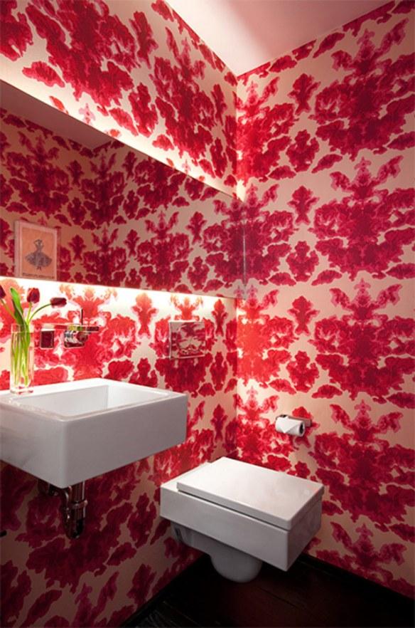 Baño original en rojo