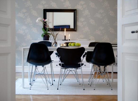 muebles comedor blanco y negro