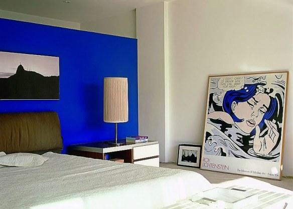 decoración dormitorio blanco y azul