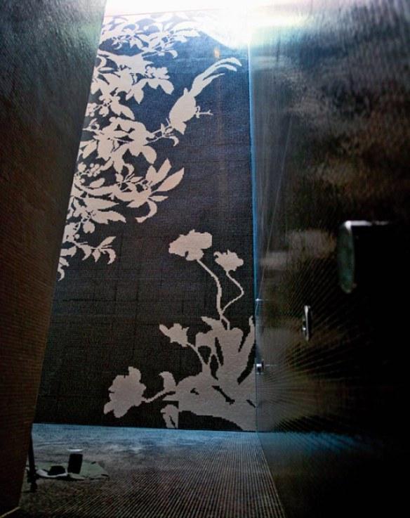 mosaico negro floral