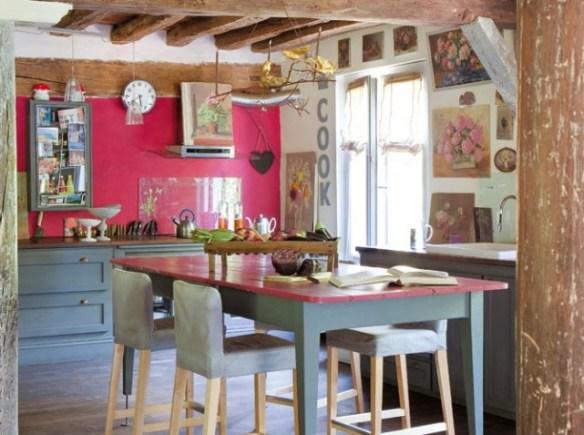cocina rosa con plancha vidrio