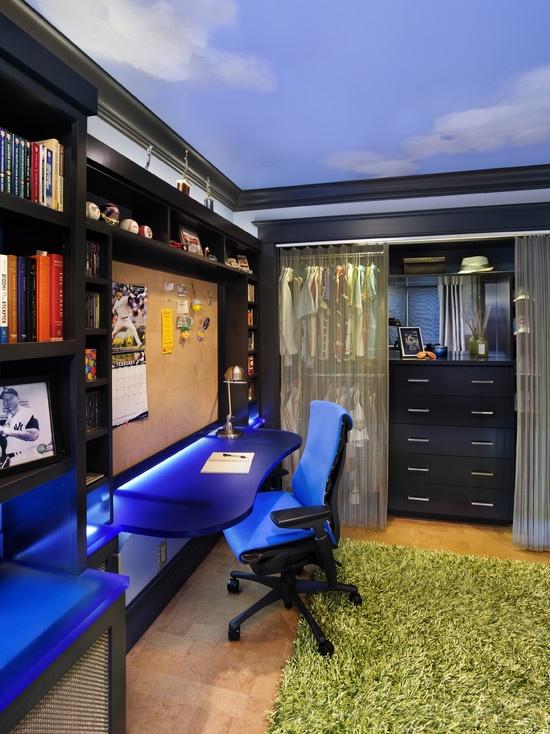 decorar azul escritorio juvenil