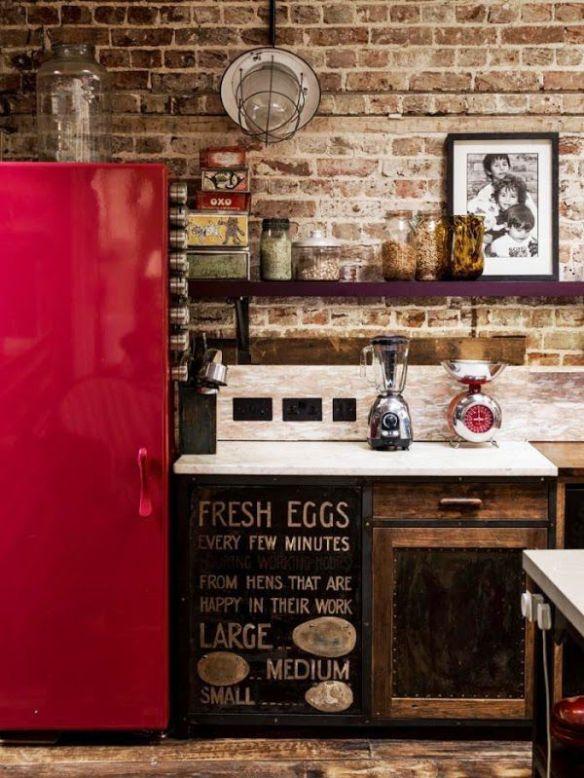 cocina armario rojo