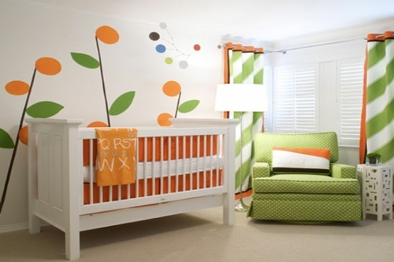 habitacion bebe naranja