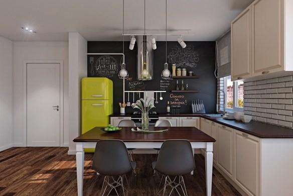 yellow-fridge-polished-wood-floors-scandinavian-kitchen