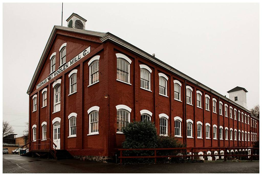 Picture of the Thomas Kay Woolen Mill at the Willamette Heritage Center in Salem, Oregon taken by wedding photographer Dionne Kraus Photography