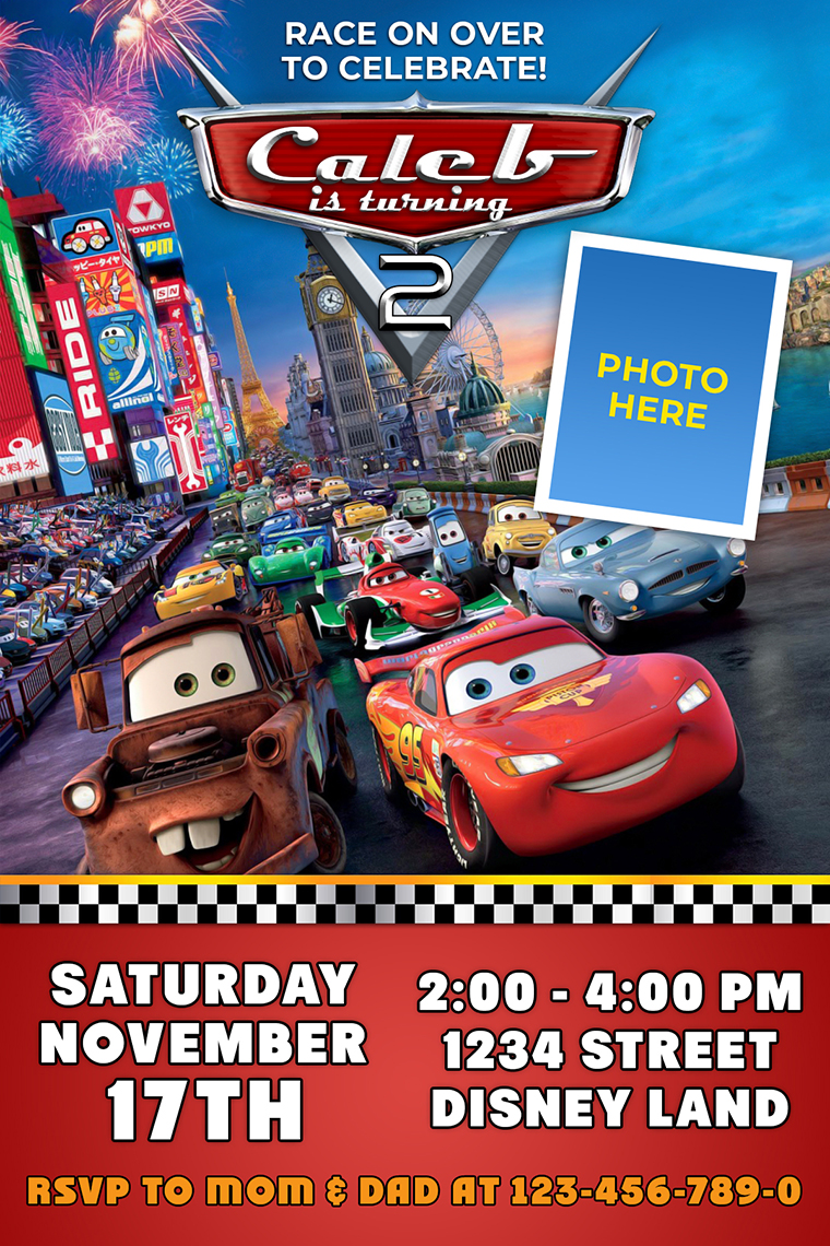 cars 2 birthday invitation