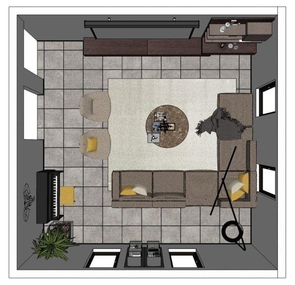 N° 6 — 110 mq — soggiorno con cucina a vista, 2 camere, doppi servizi, terrazza. Idee I Nostri Progetti Arredare Un Soggiorno Quadrato Di 20 Mq Diotti Com