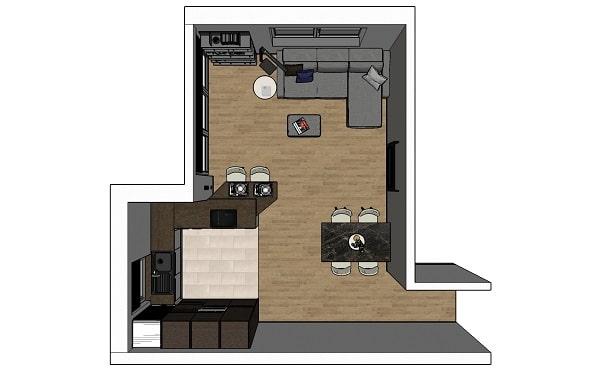 Il piccolo bilocale di 45 mq diventa una casa luminosa e. Idee I Nostri Progetti Cucina E Soggiorno In Un Open Space Di 30 Mq Diotti Com