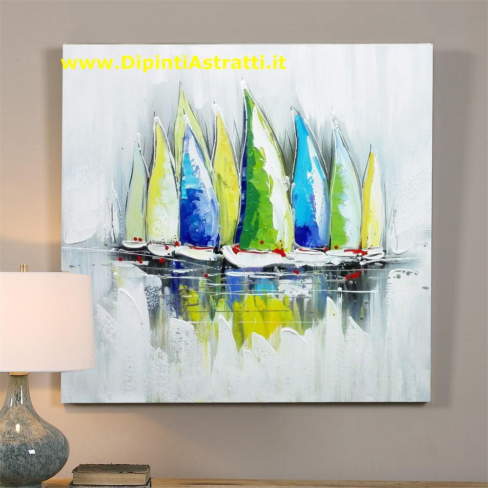 Quadri moderni su tela barche a vela colorate for Dipinti figurativi moderni