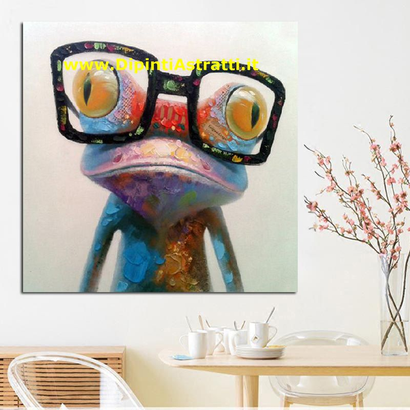 Quadri moderni su tela rana con gli occhiali dipintiastratti for Dipinti a mano su tela