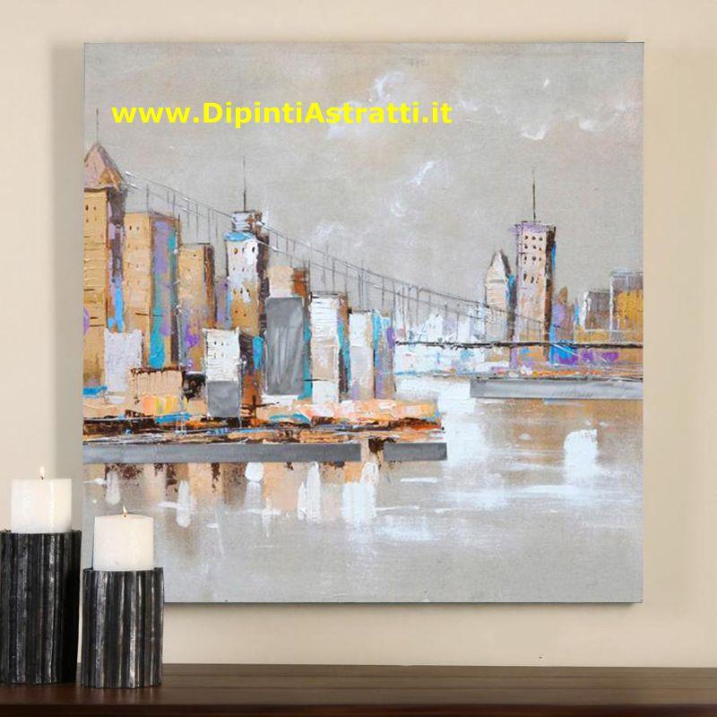 Quadri su tela paesaggio grattacieli e ponte dipintiastratti for Quadri dipinti a mano paesaggi