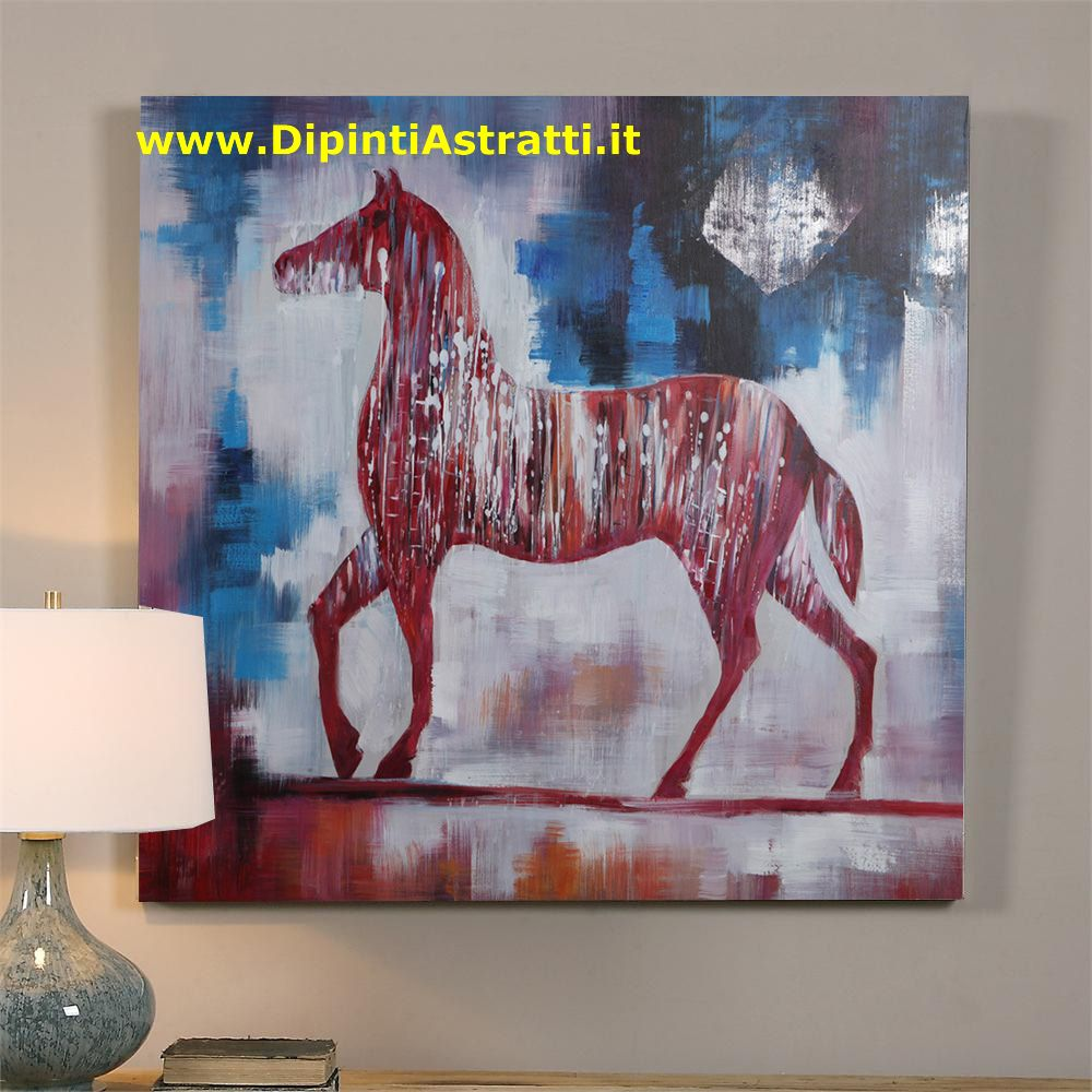 Quadro moderno su tela con cavallo dipintiastratti - Ikea quadri su tela ...