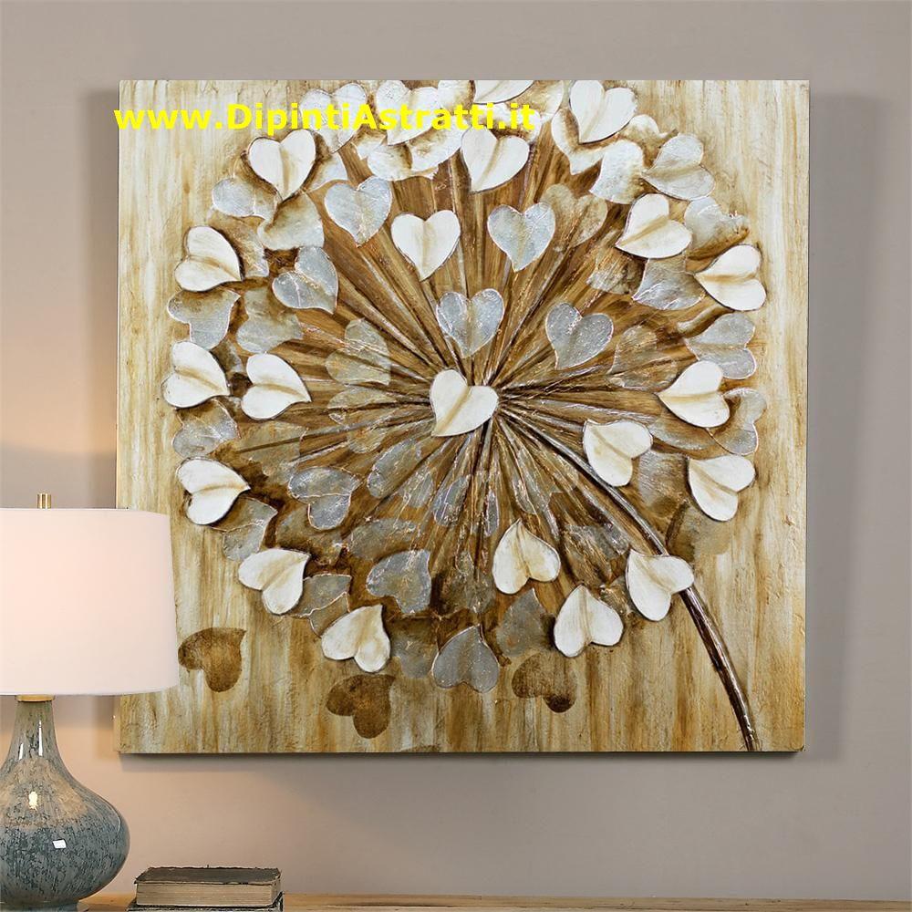 Quadro su tela con fiore e petali cuori bianchi for Dipinti a mano su tela
