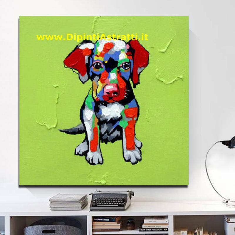 Quadro su tela moderno cane colorato dipintiastratti for Dipinti figurativi moderni