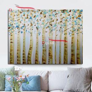 Dipinti moderni con alberi a foglie celesti