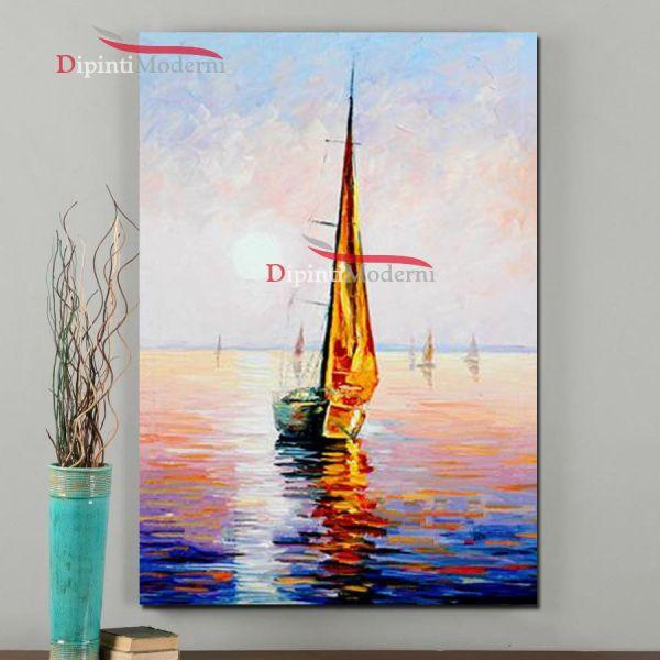 Dipinto a mano barca a vela dipinti moderni for Quadri dipinti a mano paesaggi