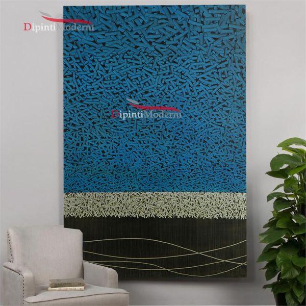 Quadri astratti minimalisti azzurro materici