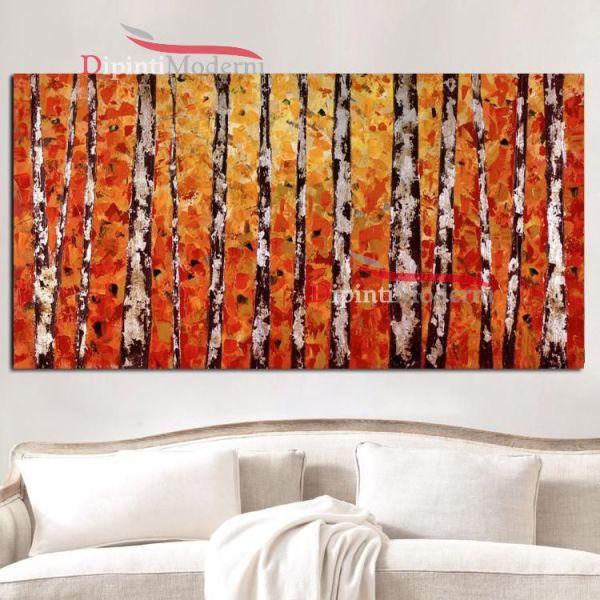 Quadri con tronchi astratti arancione