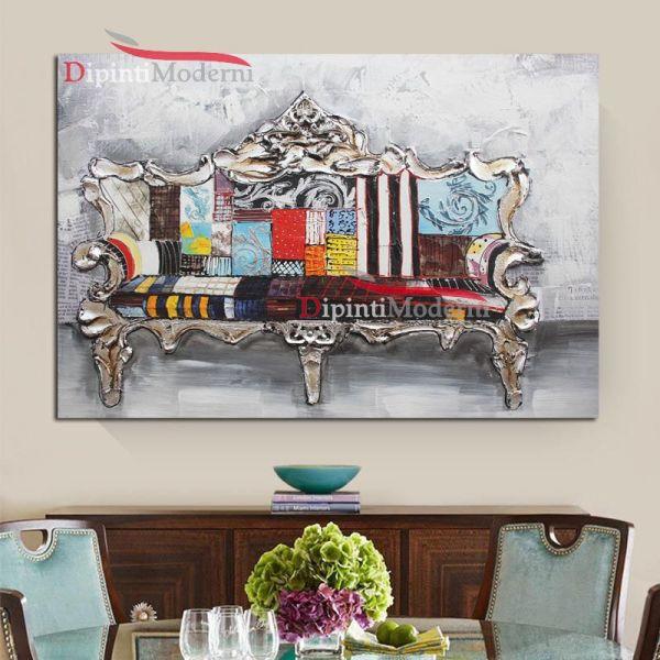 Quadri moderni divano barocco colorato