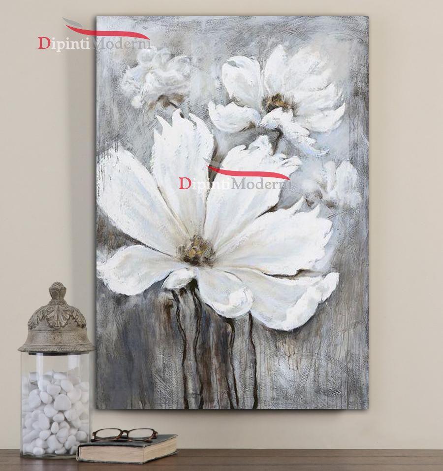 quadri verticali con fiori bianchi dipinti moderni