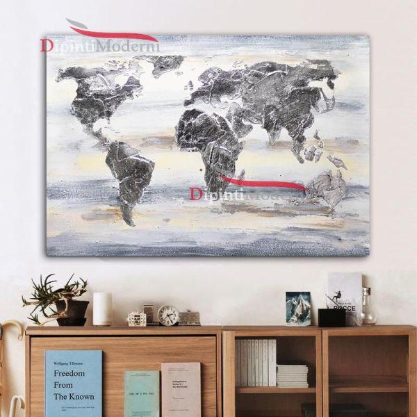 Quadro moderno mappa mondo grigio bianco